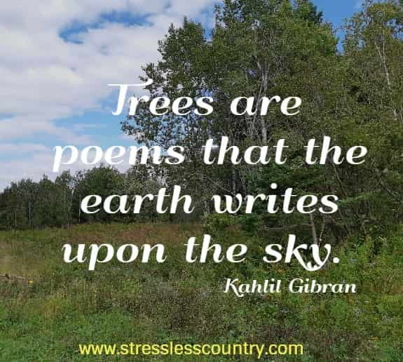 Trees are poems that the earth writes upon the sky.   Kahlil Gibran