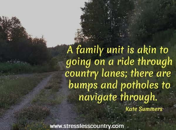 a family unit is akin to going on a ride through county lanes....