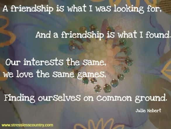 a friendship is what I was looking for...