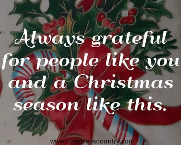 An Inspiring Message - Always grateful for people like you and a Christmas season like this.