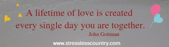 A lifetime of love is created every single day you are together.  John Gottman