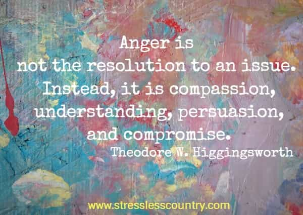 Anger is not the resolution to an issue. Instead, it is compassion, understanding, persuasion, and compromise.