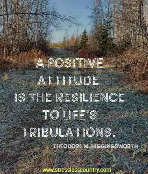 A positive attitude is the resilience to life's tribulations.