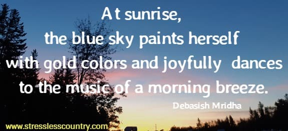 At sunrise, the blue sky paints herself with gold colors and joyfully  dances to the music of a morning breeze. Debasish Mridha