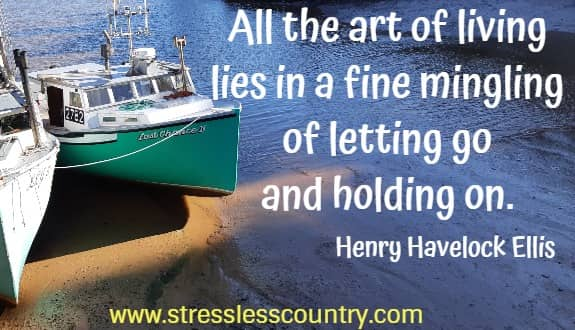all the art of living lies in a fine mingling of letting go and holding on