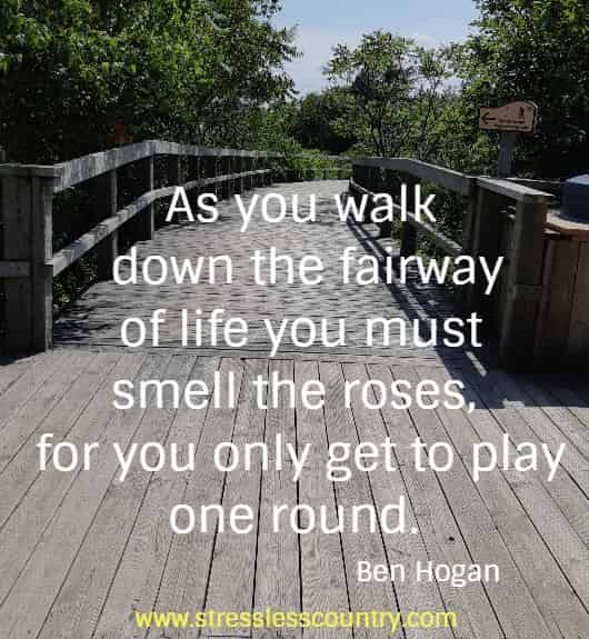 As you walk down the fairway of life you must smell the roses,  for you only get to play one round. Ben Hogan