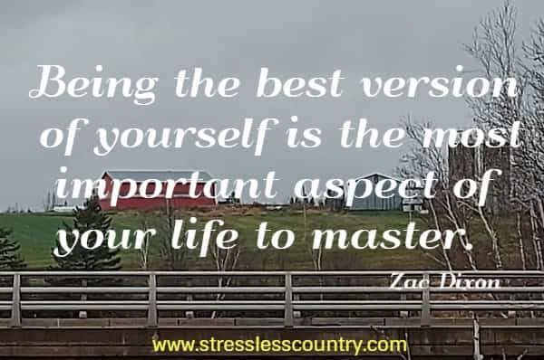 Being the best version of yourself is the most important aspect of your life to master.