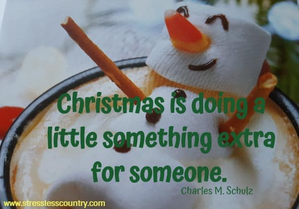 Christmas is doing a little something extra for someone.   Charles M. Schulz