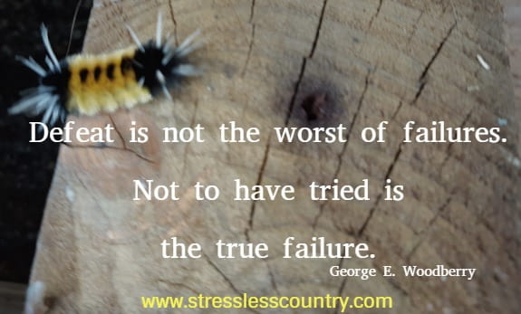 Defeat is not the worst of failures. Not to have tried is the true failure. George E. Woodberry
