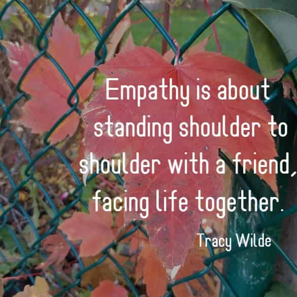 Empathy is about standing shoulder to shoulder with a friend, facing life together.
