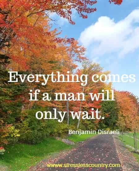 Everything comes if a man will only wait.