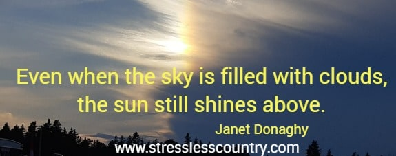 Even when the sky is filled with clouds, the sun still shines above.    Janet Donaghy