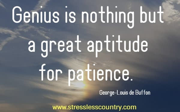 Genius is nothing but a great aptitude for patience.  George-Louis de Buffon