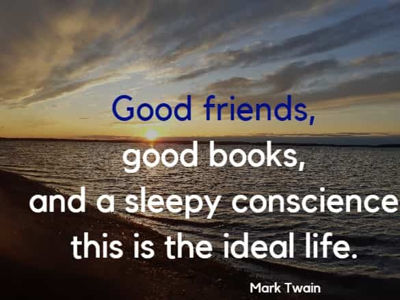 Good friends, good books, and a sleepy conscience: this is the ideal life.