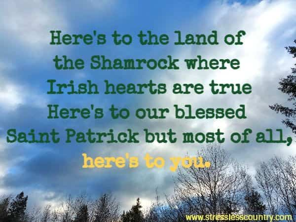 Here's to the land of the Shamrock where Irish hearts are true Here's to our blessed Saint Patrick but most of all, here's to you.