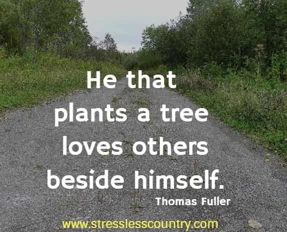 He that plants a tree loves others beside himself. Thomas Fuller