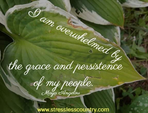 I am overwhelmed by the grace and persistence of my people. Maya Angelou