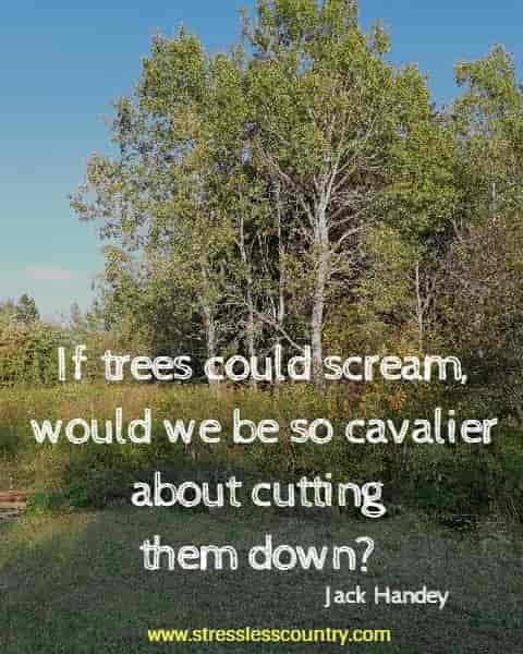 If trees could scream, would we be so cavalier about cutting them down?