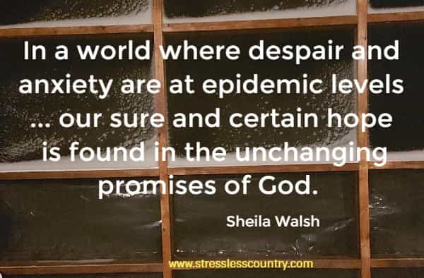 In a world where despair and anxiety are at epidemic levels ... our sure and certain hope is found in the unchanging promises of God.