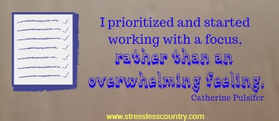I prioritized and started working with a focus,  rather than an overwhelming feeling. Catherine Pulsifer