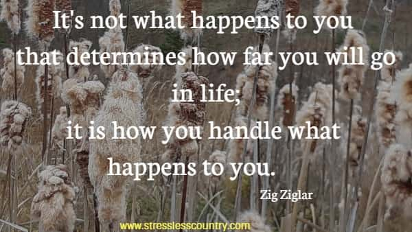 It's not what happens to you that determines how far you will go in life; it is how you handle what happens to you.