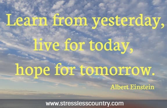 Learn from yesterday, live for today, hope for tomorrow.   Albert Einstein