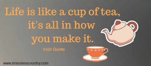 Life is like a cup of tea, it's all in how you make it.  Irish Quote