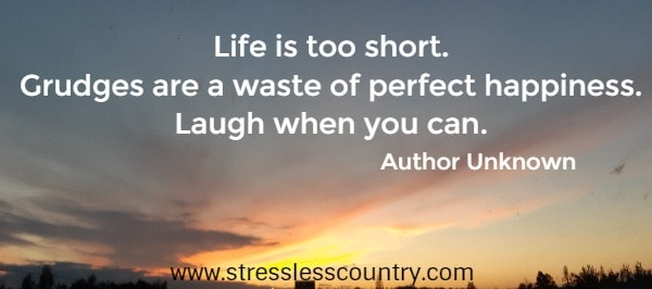 Life is too short. Grudges are a waste of perfect happiness. Laugh when you can.