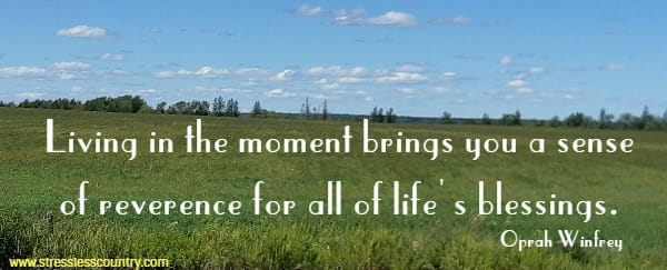 Living in the moment brings you a sense of reverence for all of life's blessings.