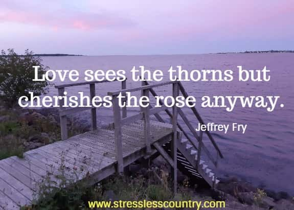 Love sees the thorns but cherishes the rose anyway.   Jeffrey Fry