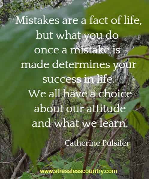 Mistakes are a fact of life, but what you do once a mistake is made determines your success in life. We all have a choice about our attitude and what we learn.
