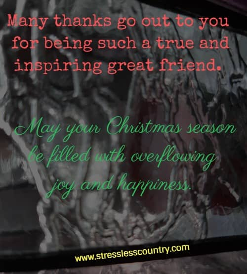 Christmas Messages for A Friend - Many thanks go out to you for being such a true and inspiring great friend. May your Christmas season be filled with overflowing joy and happiness.