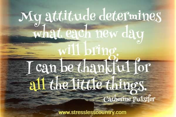 My attitude determines what each new day will bring. I can be thankful for all the little things.
