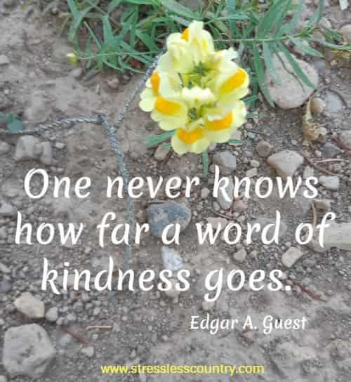 One never knows how far a word of kindness goes.