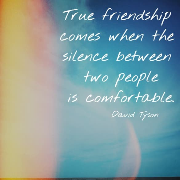 True friendship comes when the silence between two people is comfortable.