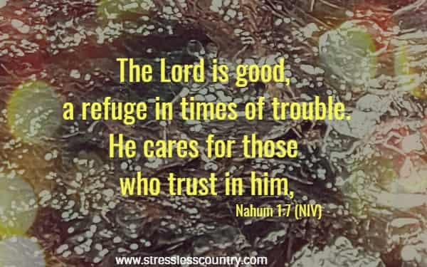 The Lord is good, a refuge in times of trouble. He cares for those who trust in him