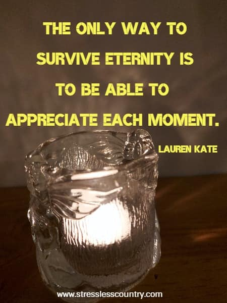 The only way to survive eternity is to be able to appreciate each moment.