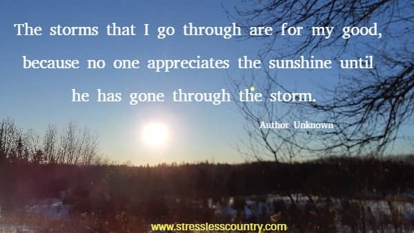 The storms that I go through are for my good, because no one appreciates the sunshine until he has gone through the storm.
