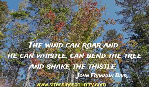 The wind can roar and he can whistle, can bend the tree and shake the thistle.
