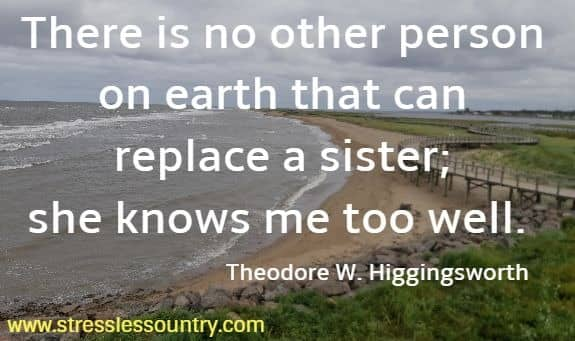 There is no other person on earth that can replace a sister;  she knows me too well. Theodore W. Higgingsworth