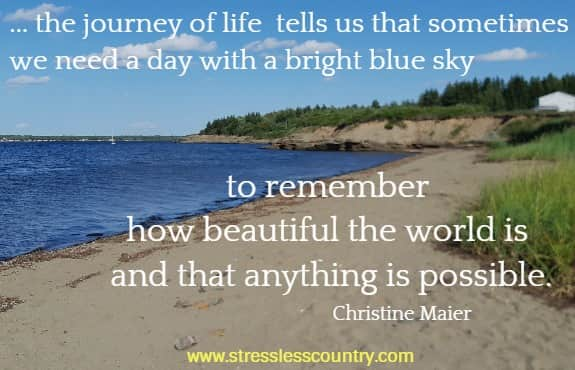 ... the journey of life tells us that sometimes we need a day with a bright blue sky to remember how beautiful the world is and that anything is possible.   Christine Maier