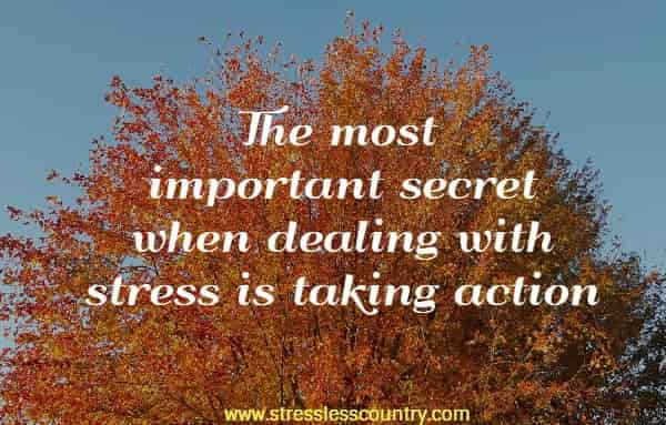 The most important secret when dealing with stress is taking action.