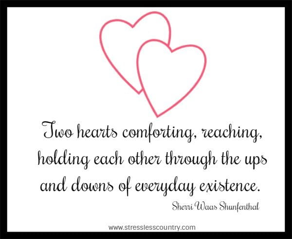 Two hearts comforting, reaching, holding each other through the ups and downs of everyday existence.