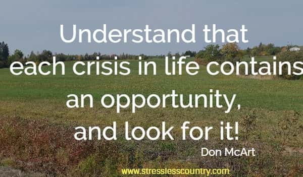 Understand that each crisis in life contains an opportunity, and look for it!