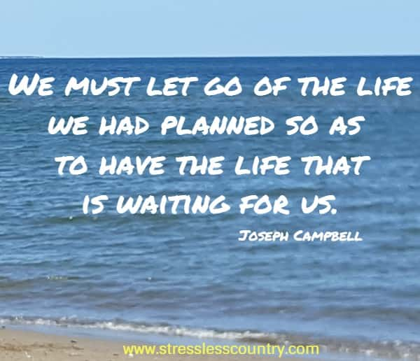 We must let go of the life we had planned so as to have the life that is waiting for us.