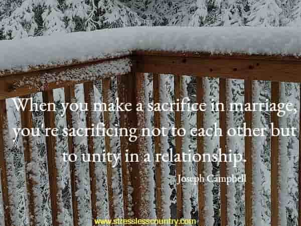 When you make a sacrifice in marriage, you're sacrificing not to each other but to unity in a relationship.