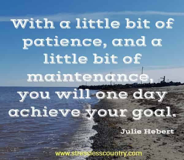 With a little bit of patience, and a little bit of maintenance, you will one day achieve your goal.