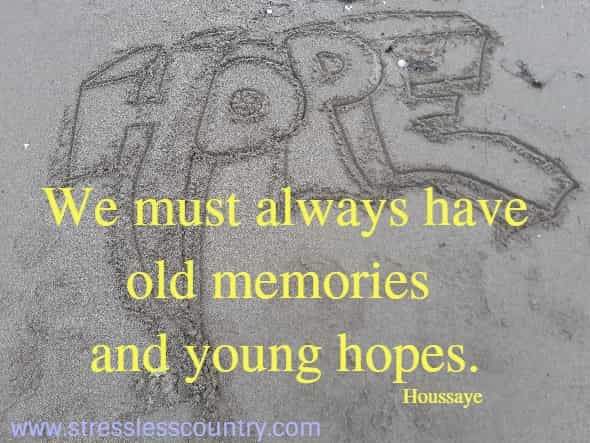 We must always have old memories and young hopes.   Houssaye