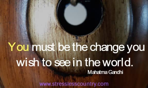 You must be the change you wish to see in the world. Mahatma Gandhi