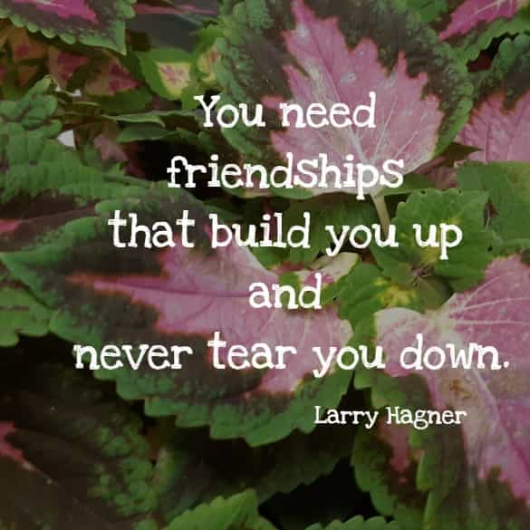 You need friendships that build you up and never tear you down.